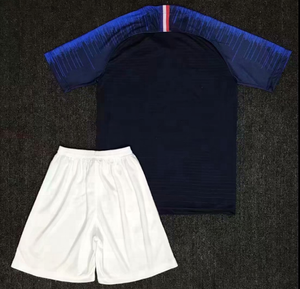 Customized 2018 France Home Blue Soccer Jersey And Shorts