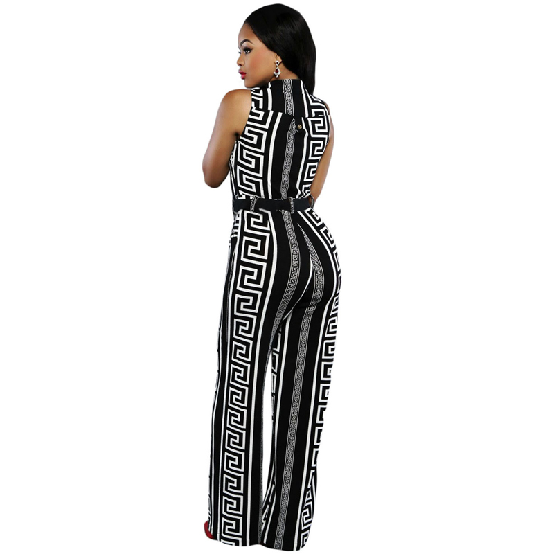 Sexy Fashion V Neck Belt Embellished Woman Long Pant Jumpsuit With Belt