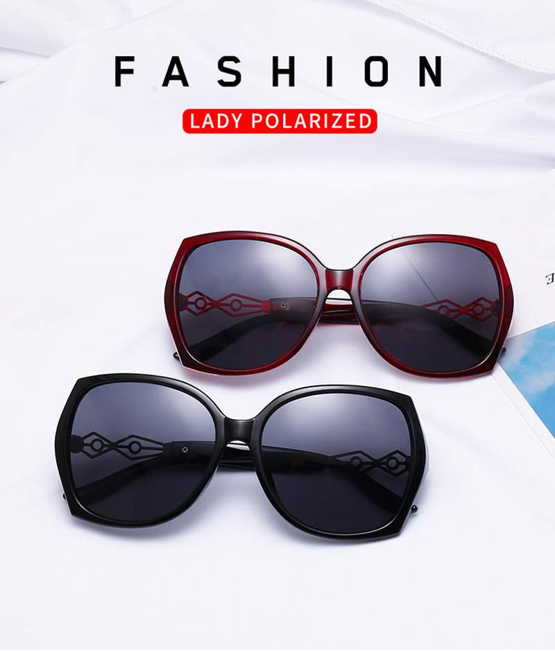 2019 Fashion Women Big Frame Cat3 Uv400 Hollow Oversize Polarized Sunglasses