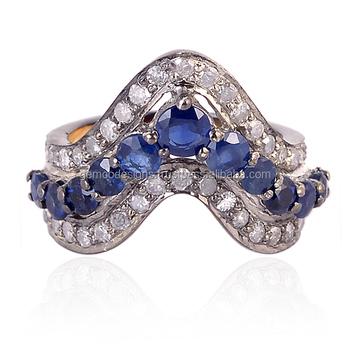 faceted blue sapphire brilliant cut diamond designer mid ring