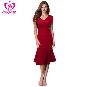 High quality red body slim ladies dress OL wear occasion office dress for women