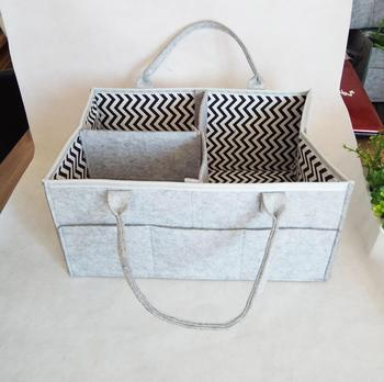 Baby Nursery Storage Bin Felt Diaper Caddy For Diapers And Wipes