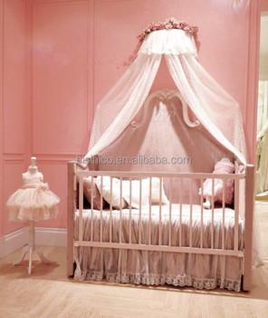 Modern European Elegant Wooden Baby Crib With Valance bf0170312