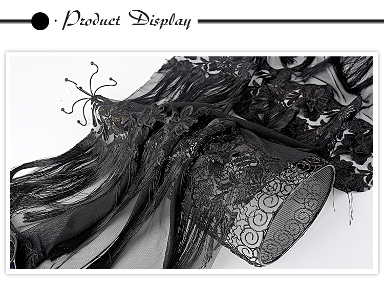 Newest different design elegant black polyester cord embroidered lace fabric