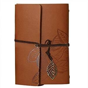 Leaf Pendant Diary Book - TOOGOO(R)PU Leather Diary book Notebook Leaf Pendant Vintage Notebook 19x13.5cm, Coffee