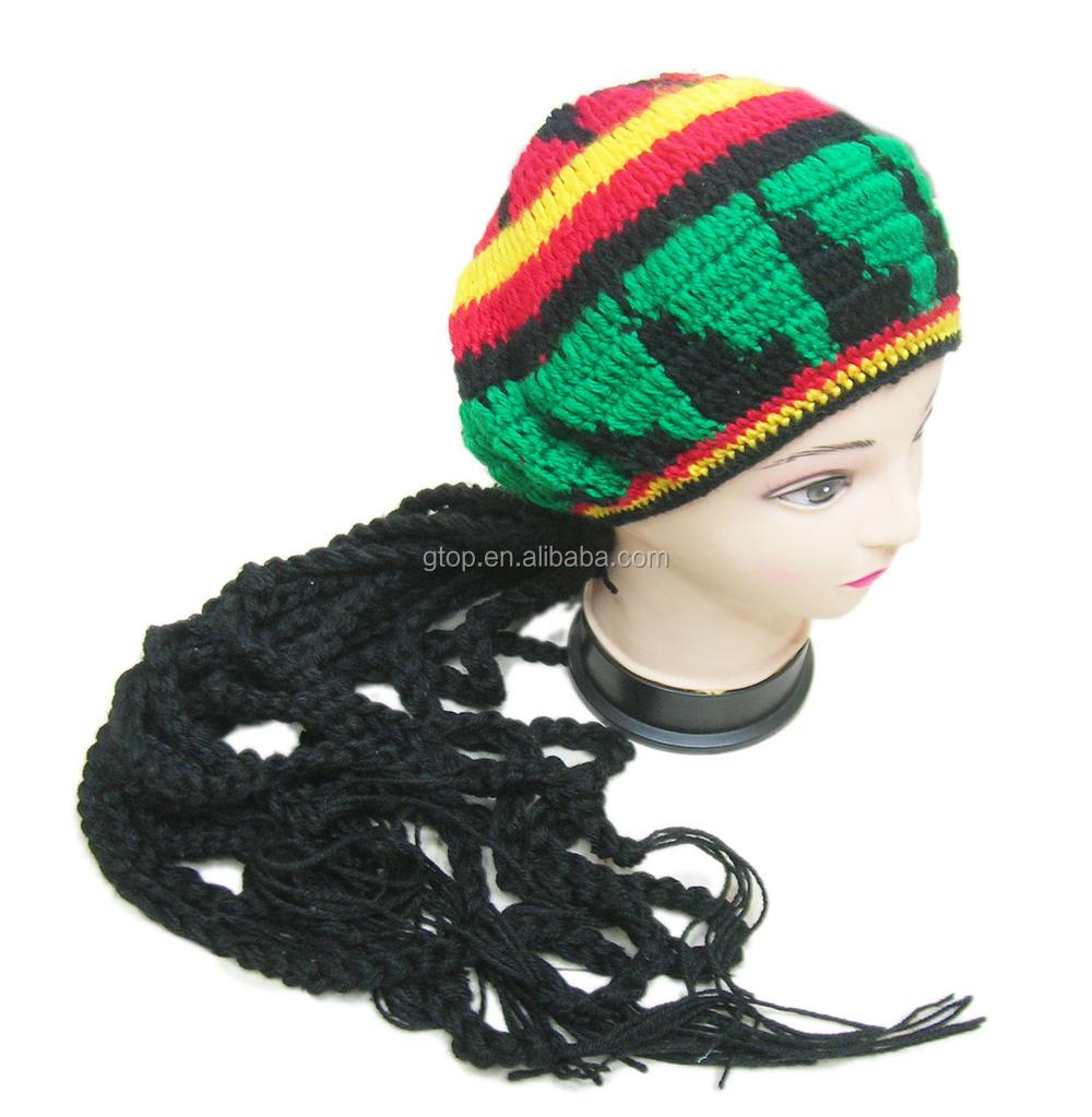 rasta dredlock perücke häkeln kappe Jamaika Bob Marley baskenmütze ...