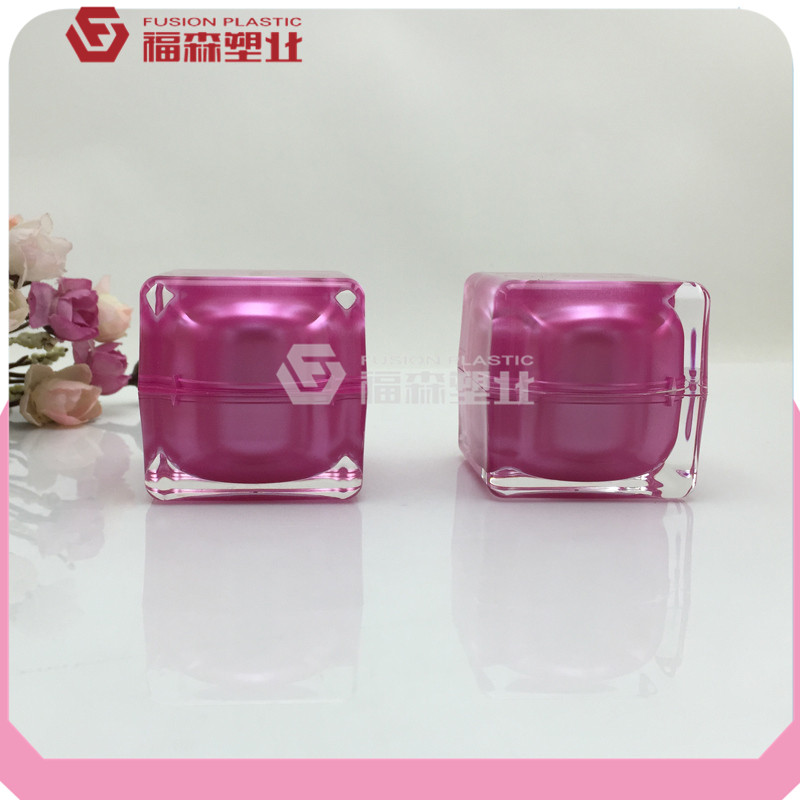 Red free sample crystal acrylic cosmetic jar 5g 10g 15g 30g 50g empty square red acrylic cosmetic jar