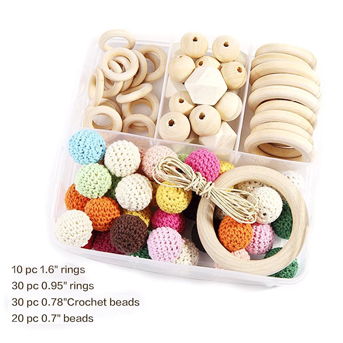 Natural Wooden Rings and Wooden Crochet Set Diy Nursing Necklace Teething Necklace Set Eco Baby New Baby Accessories Nursing