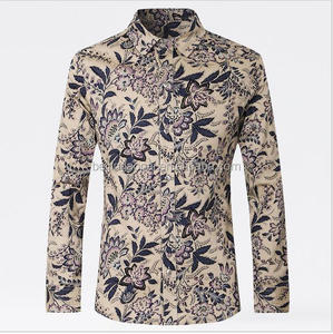 New Design Sea Island Men Cotton Plus Size 4XL 5XL Mens Floral Print Causal Shirt