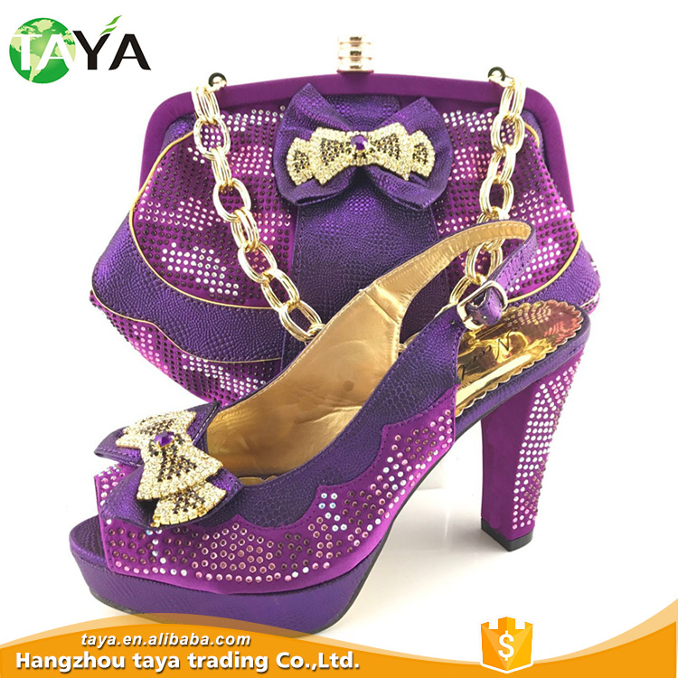 Luxury Matching Quality Purple Shoes Bag And Superior Latest Design q46Bgg
