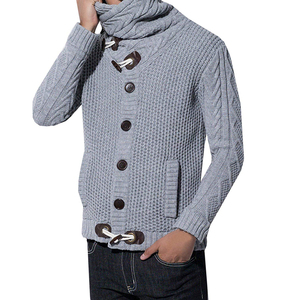 Men's Thick Coat Cashmere Turtleneck Sweater Cardigan Male Wear Wool Sweater Lapel Tide