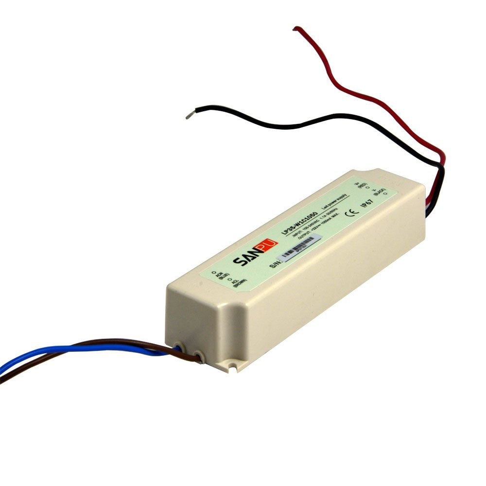 SMPS 35W 1050mA LED Driver 33V Constant Current Switching Mode Power Supply AC to DC Lighting Transformer IP67 Waterproof (SANPU LP35-W1C1050)