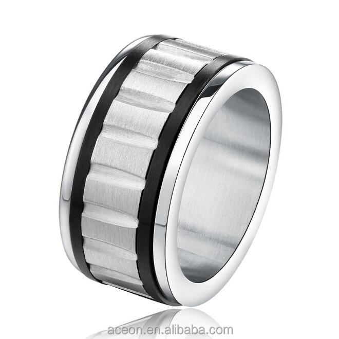 Yiwu Aceon Casual Match Bulk Sale Wholesale Jewelry Black Edge Stripe Ring