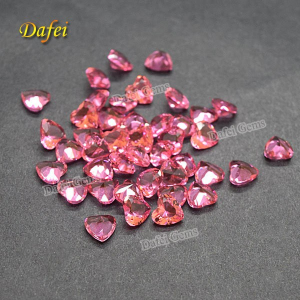 Pink Heart Shape Glass Gems For Decoration