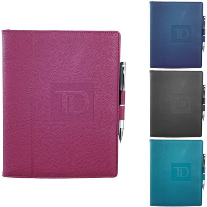 Custom Business Card Pocket PU Leather Journal Notebook with Double Pen Holder