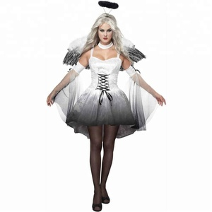 Hot Sale Halloween White Angel Halo Cosplay Party Sexy Adult Women Costumes