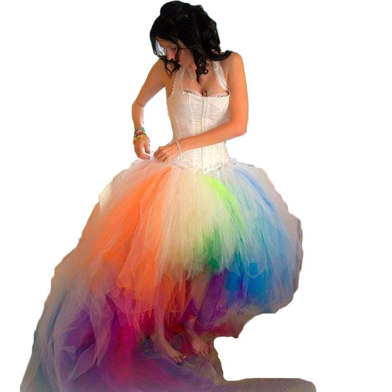 68e9cee0f2878 Get Quotations · Hot Dresses Colorful Rainbow Camo Wedding Dresses Beach  Halter Bridal Gowns