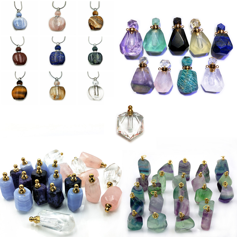Genuine rainbow fluorite carved gemstone perfume bottle pendant Essential Oil Diffuser pointed fluorite stone necklace