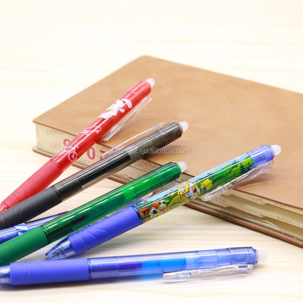 Plastik tıklama sıcaklık pilot frixion geri çekilebilir silinebilir kalemler silgi ile