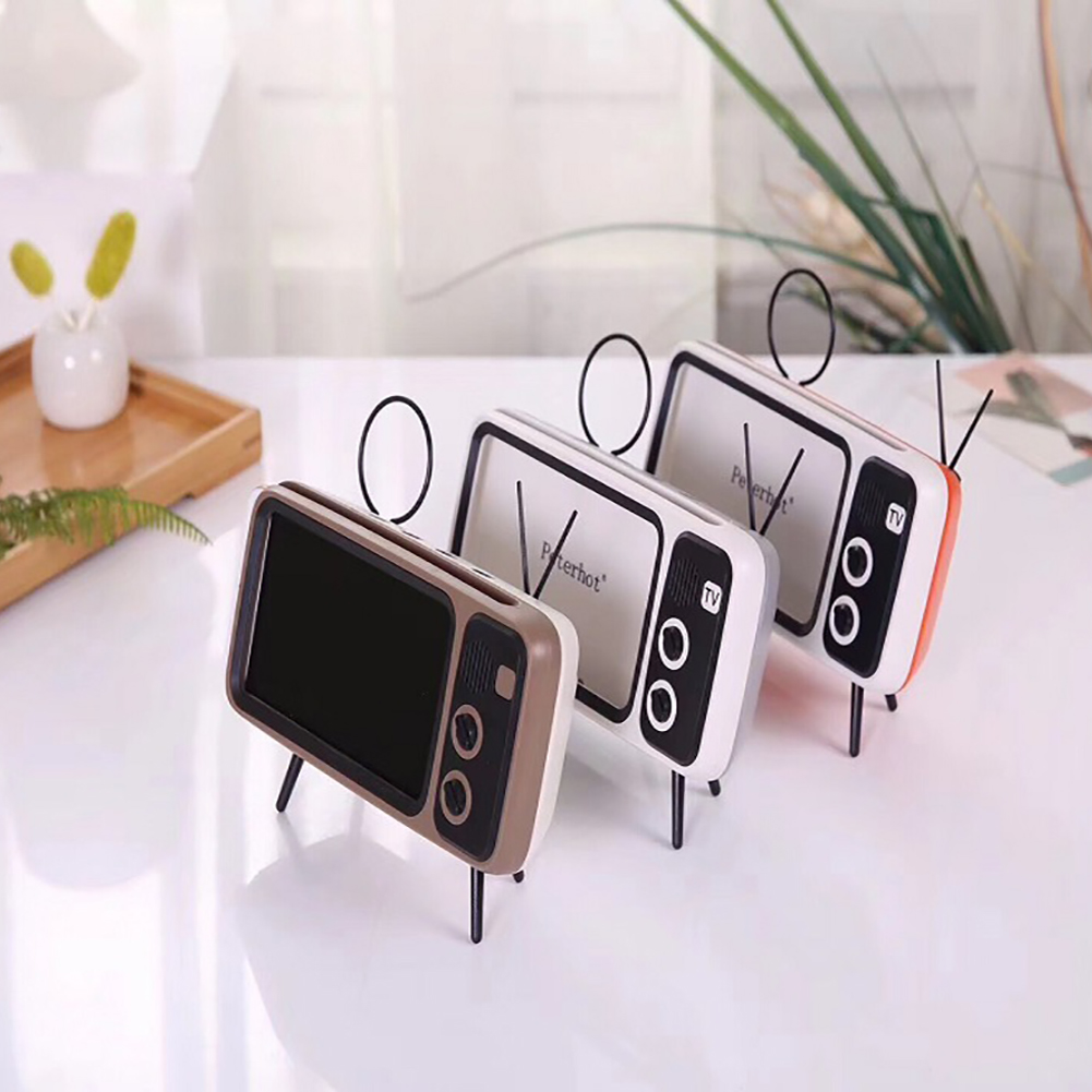 Portable Wireless PTH800 Retro TV Mini Bluetooth Super Bass Speaker Phone Holder