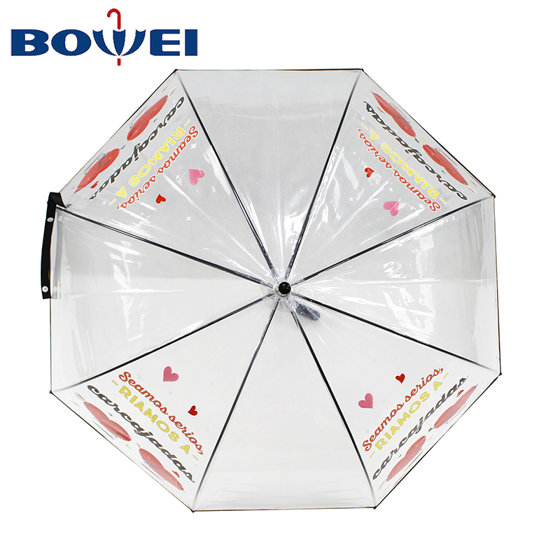 High quality personality design panda print promotional price thickening clear cheap transparent umbrella