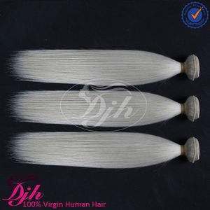 Dijunhair 8-32inch natural straight white snow color virgin brazilian human hair extensions, remy hair for Europe market