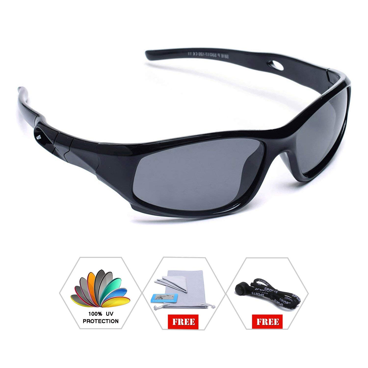 8f09f085ad51 AODUOKE Sports Polarized Kids Sunglasses For Boys Girls Children Mirrored  Lens Sunglasses With Strap