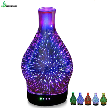 New factory supply 100ml electric 3d glass commercial ultrasonic humidifier essential oil aroma scent diffuser machine