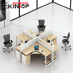 Foshan furniture office computer table design 4 seat office workstation cubicle