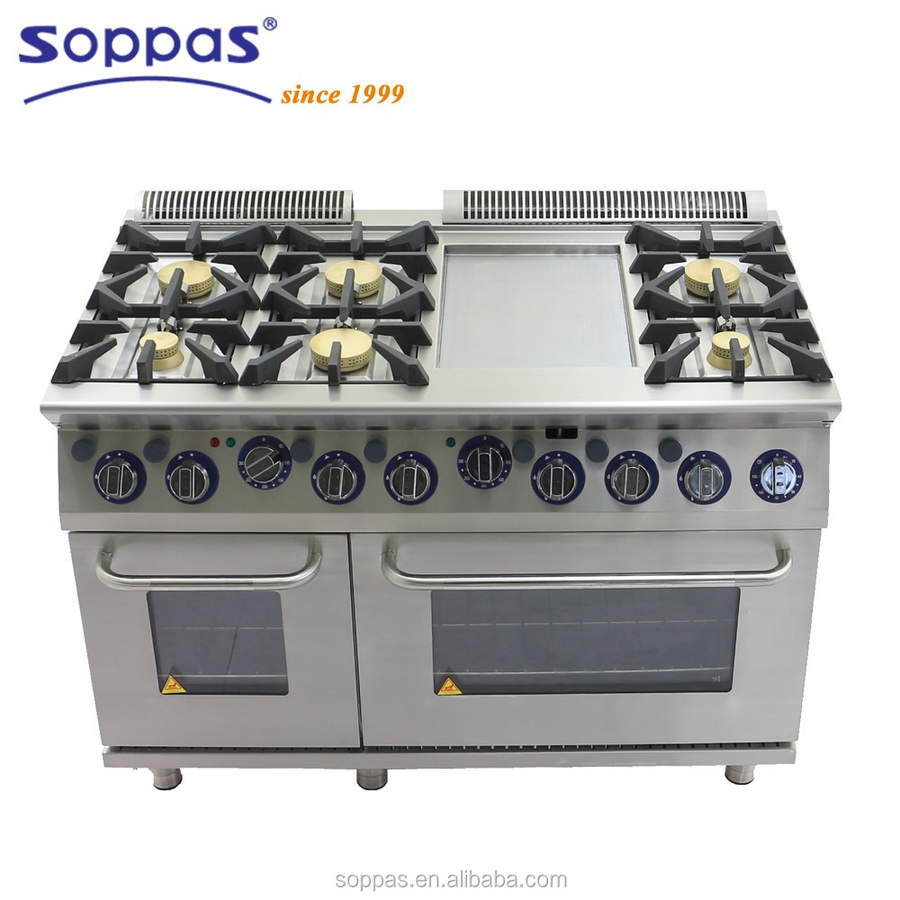Stainless Steel Heavy Duty 6 burners Gas Cooking Range with Griddle with Oven