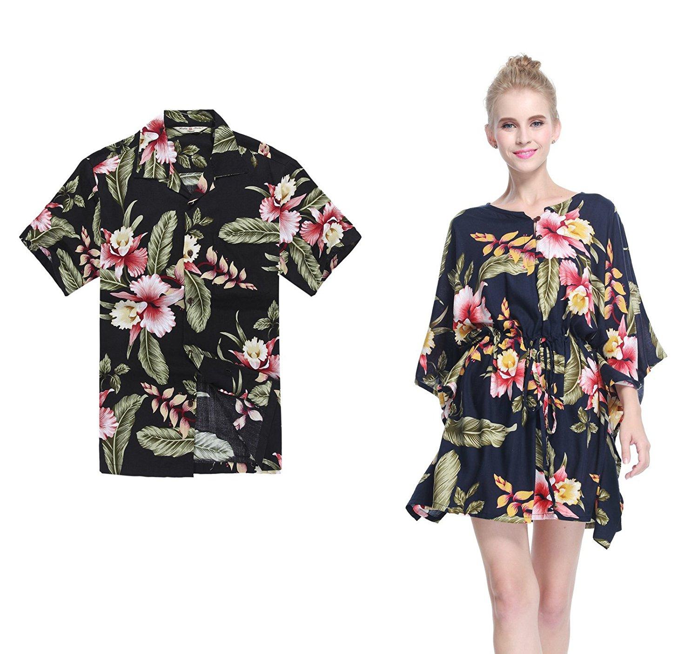 d3703c24940b Get Quotations · Hawaii Hangover Couple Matching Hawaiian Luau Aloha Shirt Poncho  Dress in Rafelsia Patterns 2 Colors