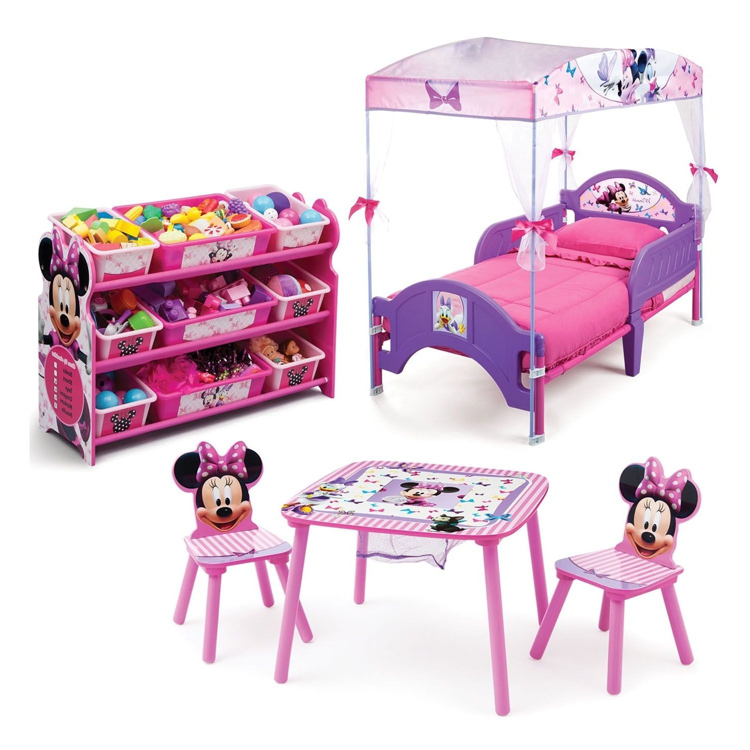 Get Quotations Minnie Mouse Kids Bedroom Furniture Sets 3 Piece Cozy Toddler Bed And Plastic Storage Containers With