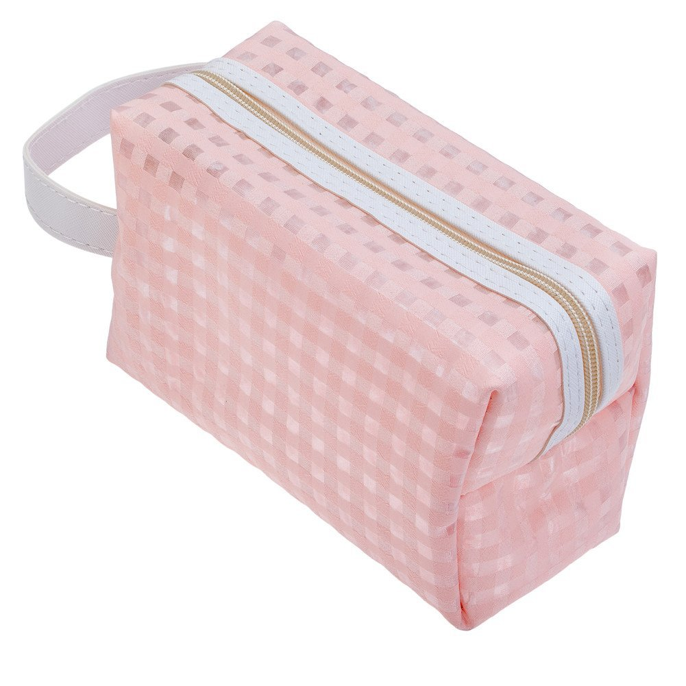Washable And Durable, Pink Nylon Beauty And Make Up Cosmetics Pouch / Bag / Case for Makeup Utensils And Toiletries By VAGA