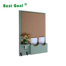 wall wooden mail organizer with chalk board and key rack
