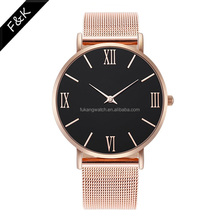Big Dial New Fashion Trend style Elegant Roman Indexes dress woman watches elegant stainless steel PVD Rose&Gold lady watch