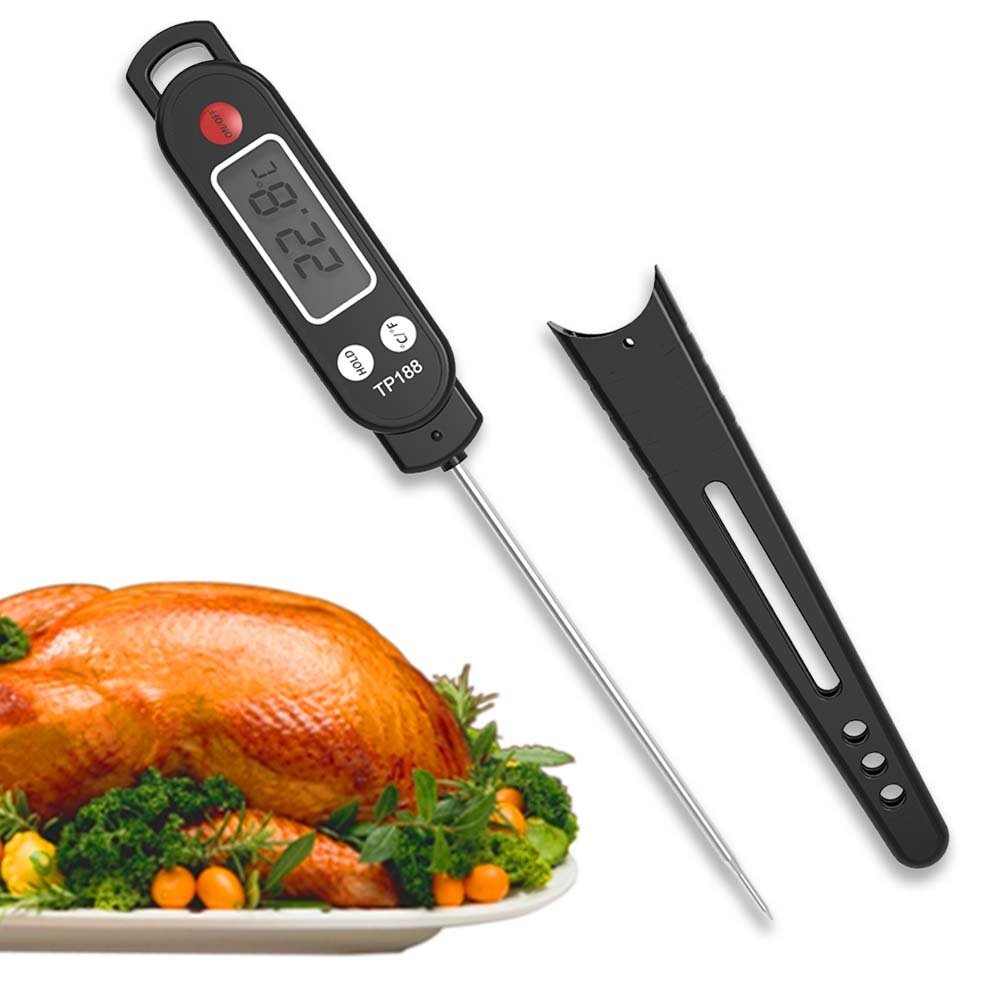 Digital Meat Thermometer, Food Cooking BBQ Thermometer Instant Read, Kitchen Thermometer Stcker, Candy Barbecue Thermometer for Grilling Drink Milk Coffee Food Tea Bathing