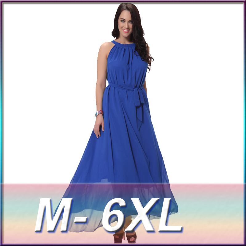 Summer Style Women Plus Size 6xl Sexy Bohemia Chiffon Long Maxi