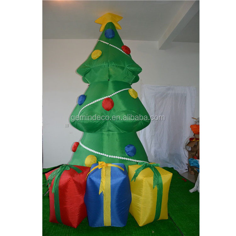 Deck ornament LED lamp inflatable red blue and yellow gift boxes holiday time christmas tree