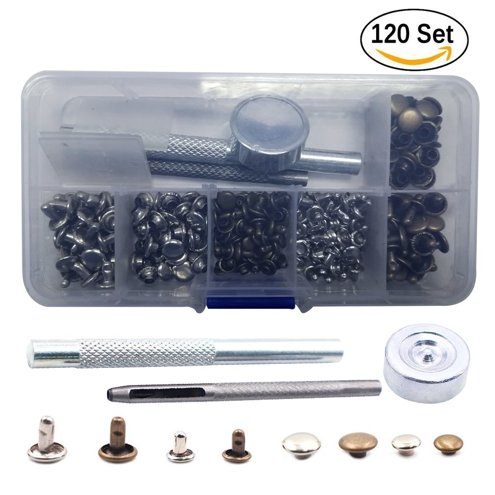 Eyech 120 Sets 2 Sizes Leather Rivets Double Cap Rivet with Fixing Tool Kit Tubular Metal Studs for DIY Leather Jeans Clothing Craft Repairing Decoration (Silver,Bronze)