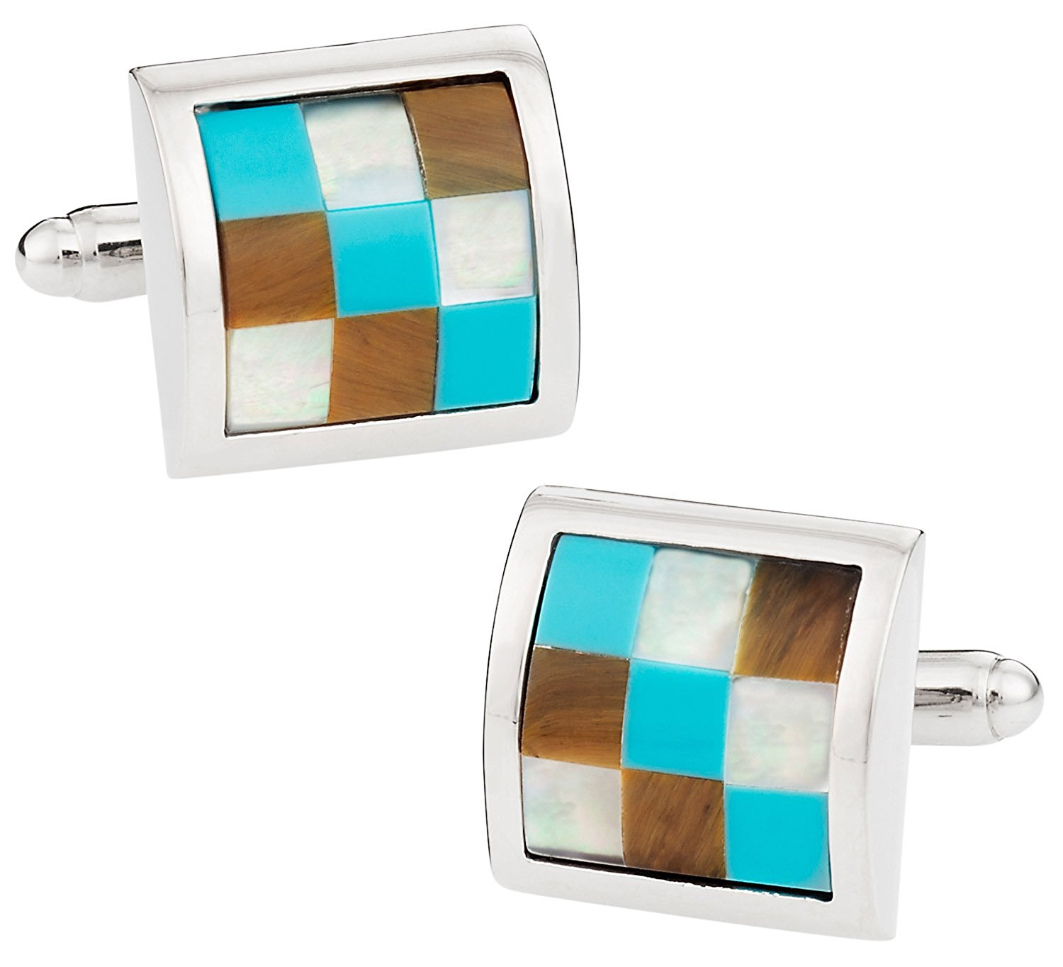 Cuff-Daddy Turquoise, Mother of Pearl, Tiger's Eye Silver Cufflinks with Presentation Box