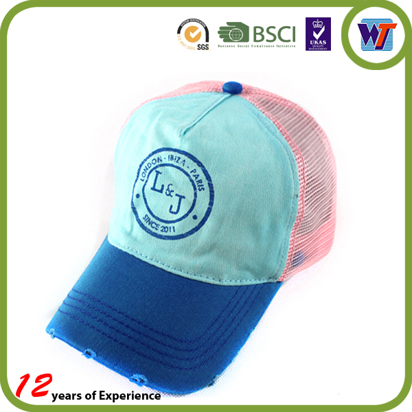 Wholesale colorful soft washed cotton baby foam mesh trucker cap and hat
