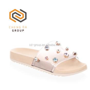e3afc71e71dd Wholesale Women Gem Embellishment PVC Slippers Open Toe Rubber Slide Sandals