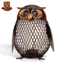 Owl shaped figurine metal figurine personalized piggy bank money box