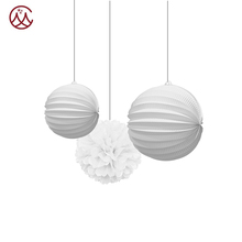 Hot Sale White Paper Lantern and Pompom Party Decoration Set