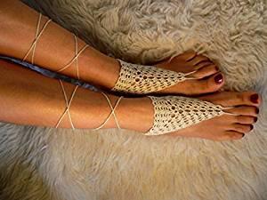 Ivory Crochet Sandals,Wedding Accessory,Sexy Beach Sandals, Crochet Barefoot Sandals, Destination Sandals , Crochet Anklet, Sexy Lace Sandals,Beach,Wedding Footwear, Bridesmaid Sandals (Iovry-02)