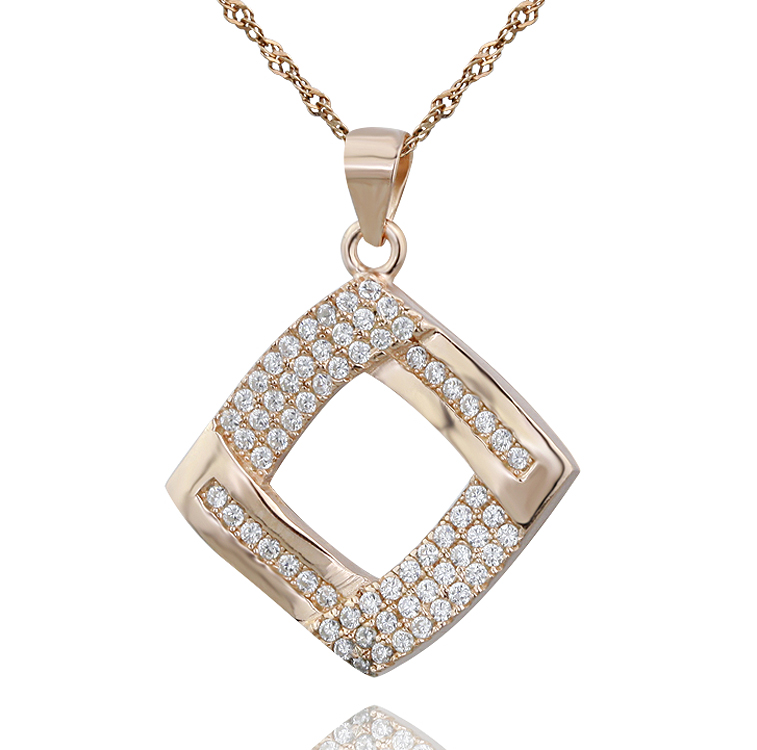 Fashion wholesaler jewelry Square shape 925 sterling <strong>silver</strong> with micro pave diamond Pendant