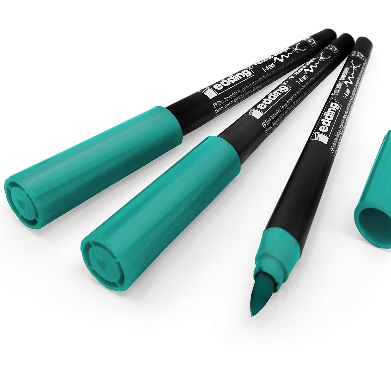Edding 4200 Porcelain Brush Pen – 1-4mm – Pack of 3 - Turquoise #14