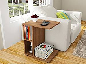 Modern Side End Table - C Shaped - Functional - Walnut Color