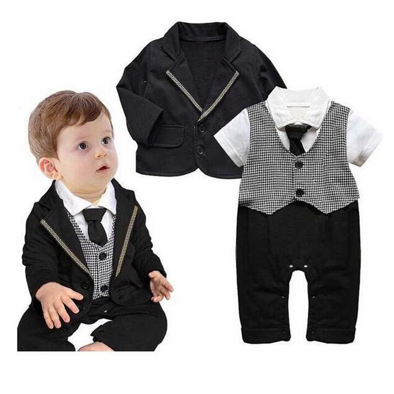 New Boy Baby Infant Formal Gentleman Clothes Button Necktie Suit Romper newborn baby boy clothes bebe