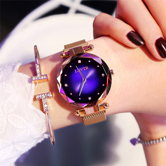 Shining Star Point Analog Watch Alloy Magnet Buckle Mesh Belt Casual Quartz Watch with Starry Sky фото